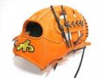 野球 ブランドA BrandA 硬式軟式兼用グラブ 内野手用 906C46C 右投用 オレンジ×ブラック 約28.5cm