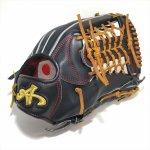 野球 BrandA ブランドA 硬式グラブ 外野手用 907AJ027 Jレザー 日本製 型付け済 刺繍入り 約31.5cm 右投用 ブラック×タン 高校野球対応