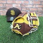 野球 アトムズ ATOMS 軟式仕様グラブ 内野手用 カタログ外 AWS-15 チョコ×イエロー 帽子プレゼント付き