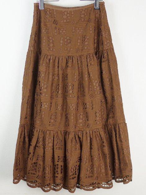 21SS コットンエンブロダイリーギャザースカート