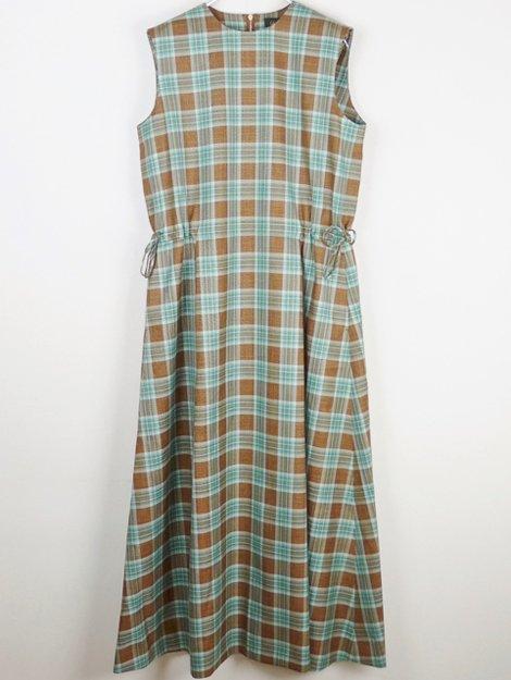 21SS ウールシルクリネン チェックドレス