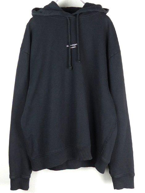 リバースロゴ入りフード付きスウェットシャツ ブラック