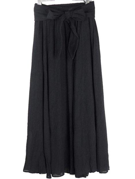 20SS ウエストリボン付き楊柳ギャザースカート