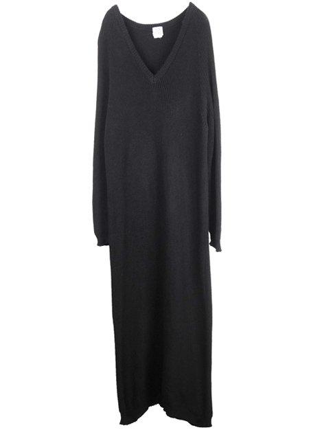 コットンミドルゲージニットロングドレス