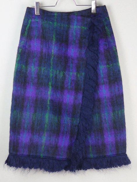 19AW チェックフリンジラップスカート