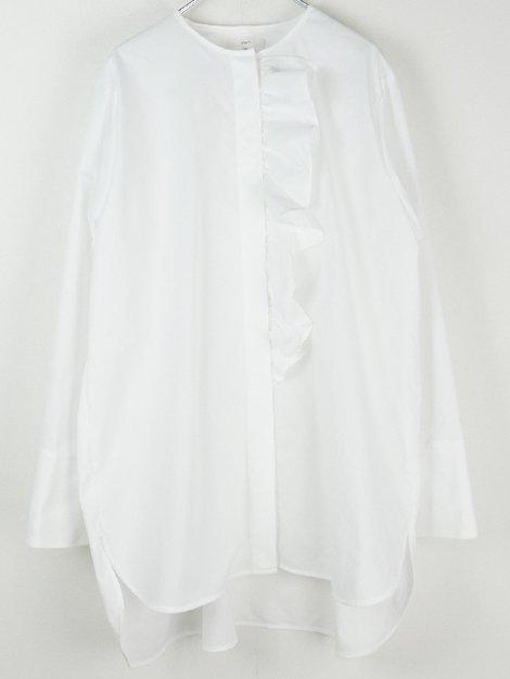 20AW ノーカラーフリルシャツ
