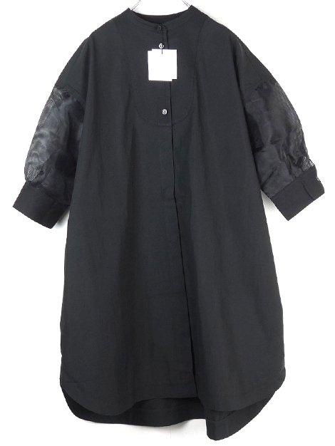 21SS seethrough shirt tunic (black)