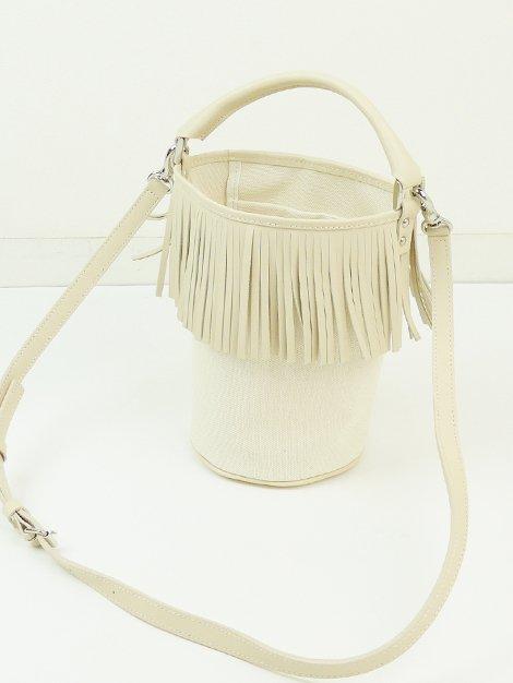 Fringe Bucket Bag/ivory