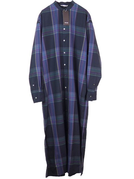 19AW SUPER LIGHT WOOL CHECK MAXI ONE-PIECE