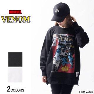 MARVEL『ヴェノム』コミック・フロントカバー サイドジップ・ビッグトレーナー(男女兼用)