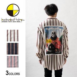 レトロストライプ切り貼りビッグシャツ(男女兼用)