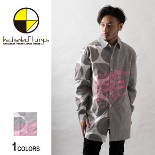 カリグラフィードットストライプビッグシャツ(男女兼用)