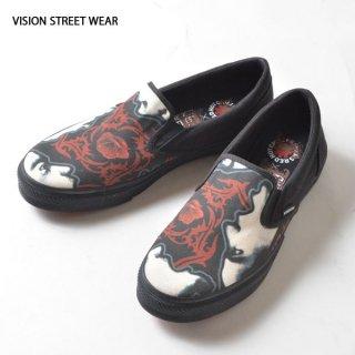 VISION STREET WEAR(ヴィジョン ストリート ウェア)バンドパロディ東京裏側カスタムスリッポン(ローズ)