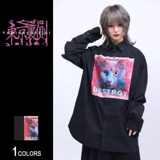 【東京裏側】HEXAGRAM KITTYビッグシャツ(男女兼用)