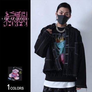 【東京裏側】チャイナボタン切り貼りビッグシャツ(男女兼用)