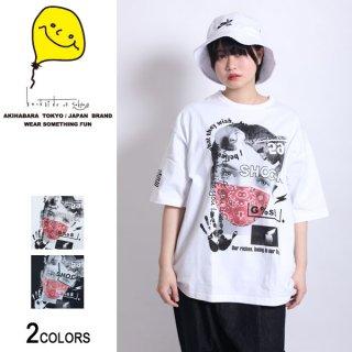 ZIP付きバンダナマスクgirl photoビッグTシャツ(男女兼用)