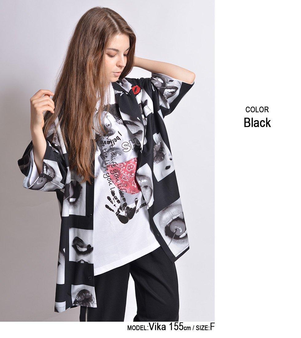 Lipsフォト刺繍オープンカラービッグ半袖シャツ