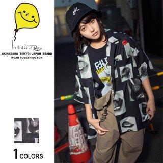 Lipsフォト刺繍オープンカラービッグ半袖シャツ(男女兼用)