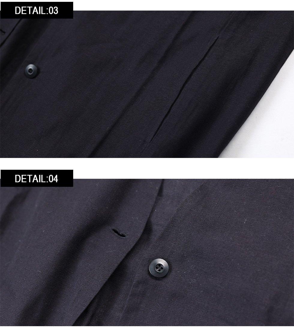 Vネックカラー7分袖綿麻コート