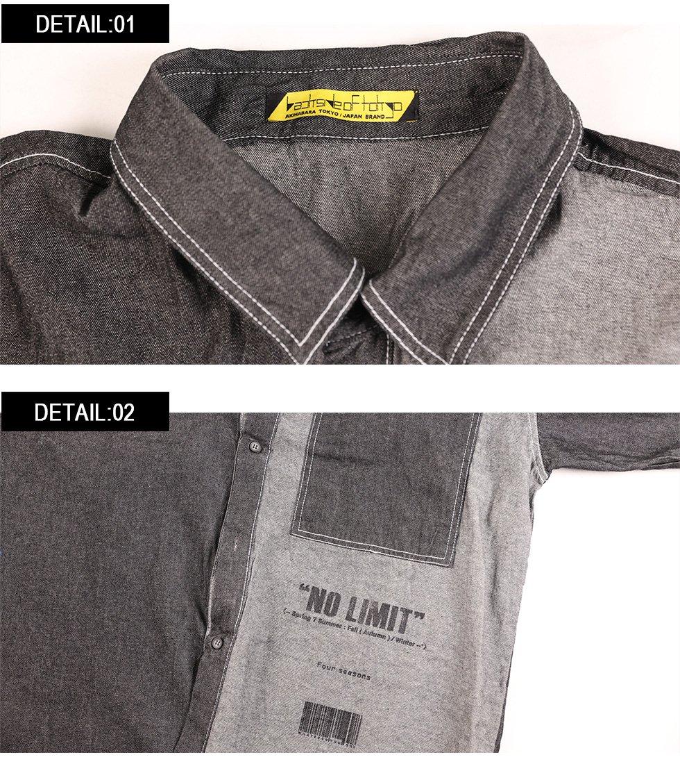 デニム切り替えロゴビッグシャツ