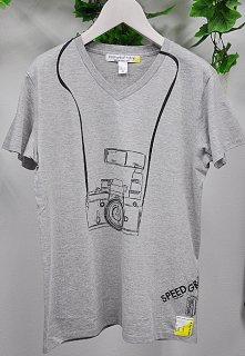 スピード グラファー10th記念コラボ 「Nikon F2」フェイクデザインTシャツ(グレー)(男女兼用)