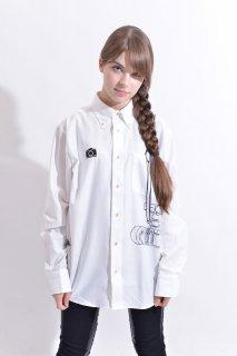 スピード グラファー10th記念コラボ 「Nikon F2」フェイクデザインシャツ(ホワイト)(男女兼用)