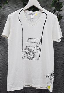 スピード グラファー10th記念コラボ 「Nikon F2」フェイクデザインTシャツ(ホワイト)(男女兼用)