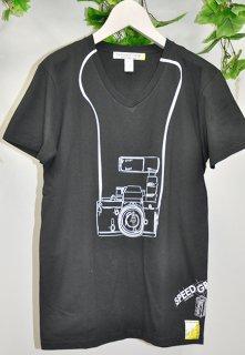 スピード グラファー10th記念コラボ 「Nikon F2」フェイクデザインTシャツ(ブラック)(男女兼用)
