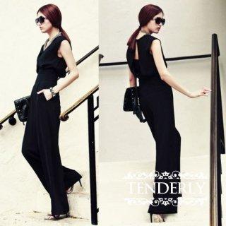 ノースリーブワイドパンツの黒パンツドレス オールインワン