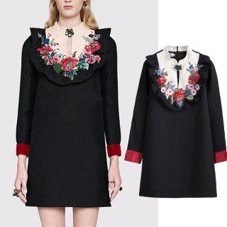 エレガントフォークロアの花柄刺繍長袖ワンピース