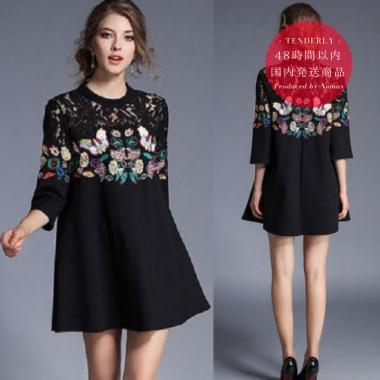 【即納】ゆったり裾広がり 花柄蝶々刺繍とレースの七分袖 ドレスワンピース