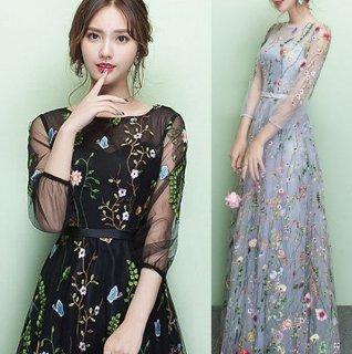 大人気 シースルーボタニカル刺繍 フルレングスドレス