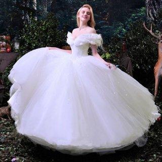 大人シンプルなプリンセスライン 蝶々モチーフのウェディングドレス/前撮り後撮り
