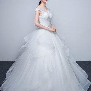 プチプラ可愛い プリンセスAラインのウェディングドレス/前撮り後撮り
