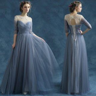 エアリーチュールとビジューでスタイルアップ 七分袖ロングドレス