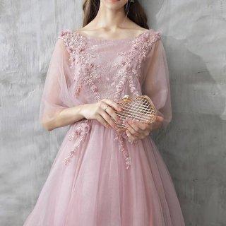 大人ガーリーなフラワーモチーフロングドレス
