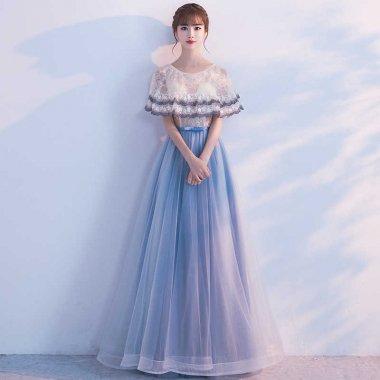ふんわりフェアリー ケープライクなバイカラーロングドレス
