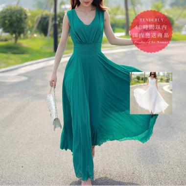 【即納】【美人百花掲載】ノースリーブシフォンマキシ サマードレス ワンピース 白/緑/黒
