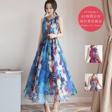 【即納】花柄プリントの総柄シフォン ロング ワンピース 3色