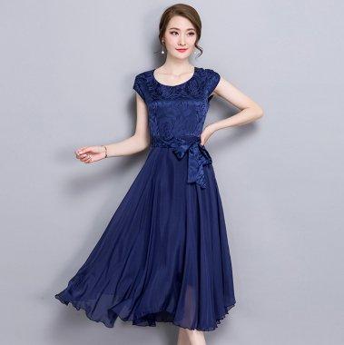 結婚式や二次会に 上品なツヤ感がエレガントなウエストリボンの半袖ドレス 3色