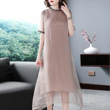 上品刺繍が大人かわいい透け感シースルーの半袖カジュアルドレス ワンピース