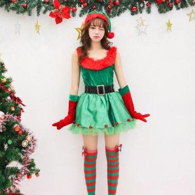 クリスマス パーティーのコスプレ衣装に サンタとツリーのキュートなセット