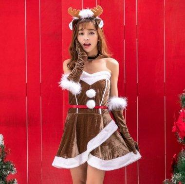 クリスマス パーティーのコスプレ衣装に ベアトップのかわいいトナカイ