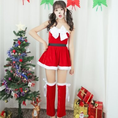 クリスマス パーティーのコスプレ衣装に 大きなリボンがかわいいベアトップ サンタ