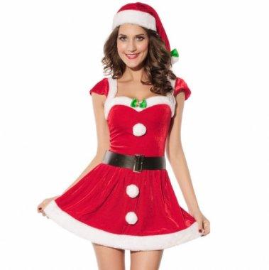 クリスマス パーティーのコスプレ衣装に ちょこんとリボンがかわいい半袖サンタ