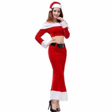 クリスマス パーティーのコスプレ衣装に お腹魅せがセクシーなオフショルダー サンタ セットアップ