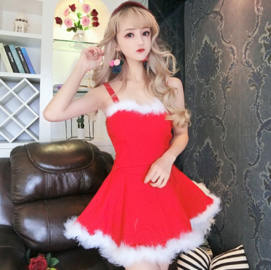 クリスマス パーティーのコスプレ衣装に ファーがかわいい サンタのミニワンピ4色