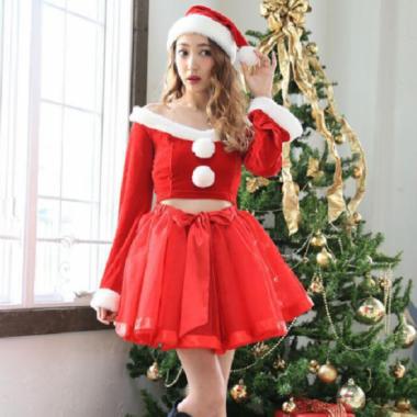 クリスマス パーティーのコスプレ衣装に フレアミニスカートのサンタ セットアップ