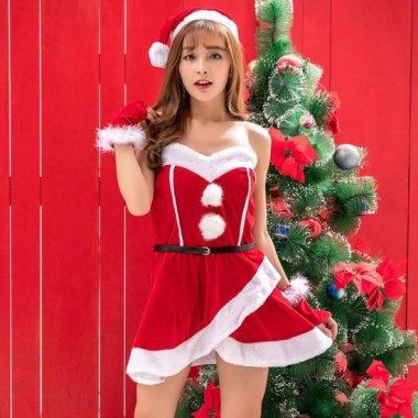 クリスマス パーティーのコスプレ衣装に ラップスカートがかわいいベアトップサンタ
