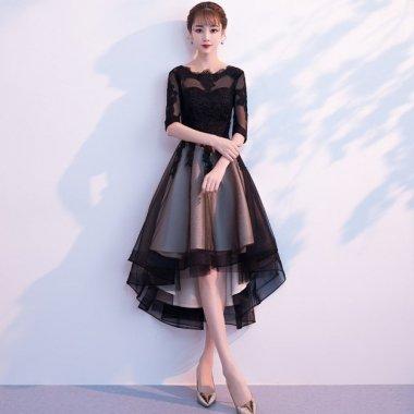 謝恩会やお呼ばれに フレアなフィッシュテールが上品かわいいレーストップのロングドレス